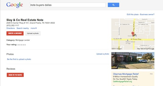 Note Business Google Places listing